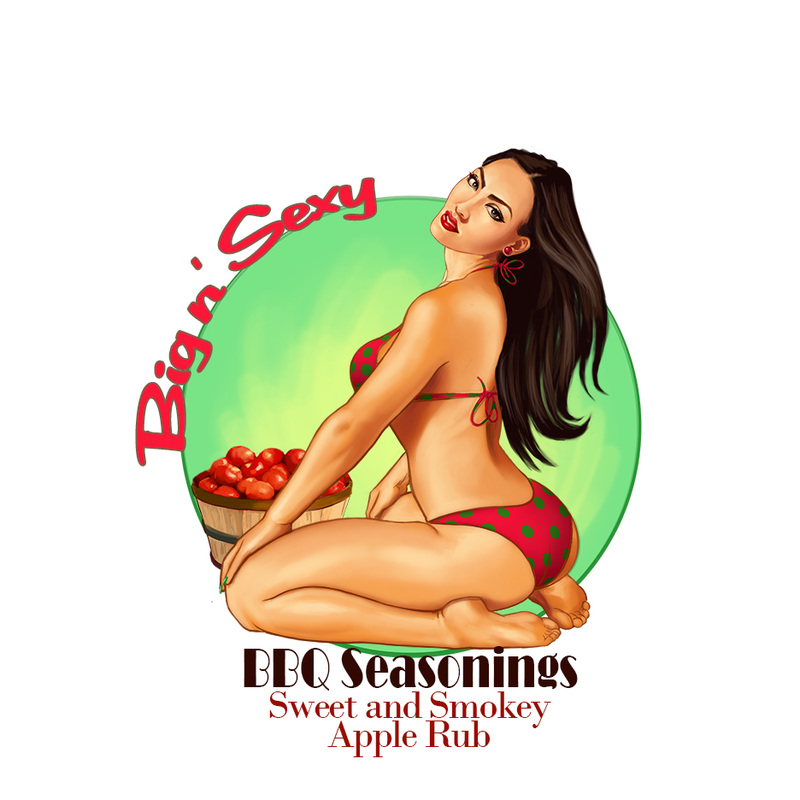 pin up of girl in bikini with a barrel of apples