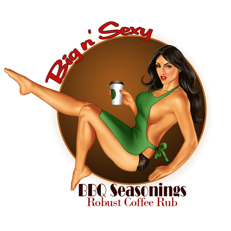 Digital pin up of a sexy barista hold coffee