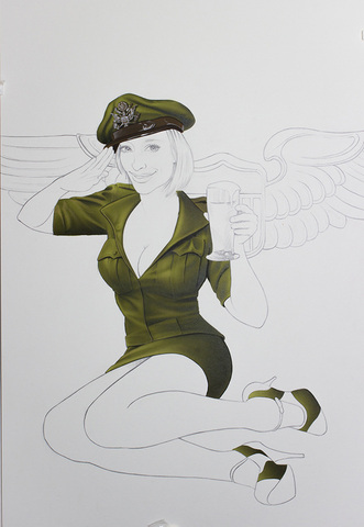 painting progress of a military pin up painting