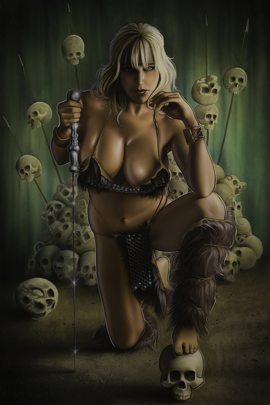this is an image of a barbarian warrior woman fantasy painting